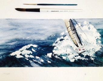 Original Art Watercolor Seascape Regatta Sail