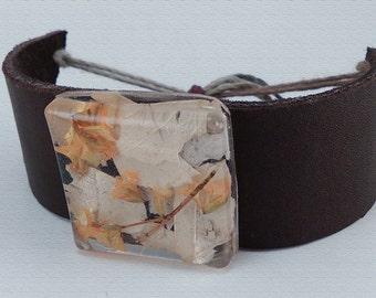 Brown Leather Bracelet with Handmade Resin Pendant