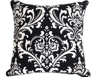 Damask Cushion Cover in White on Black