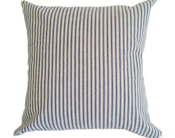 Blue & White Ticking Cushion Cover