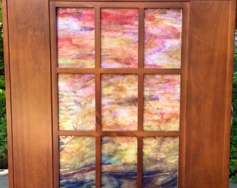Pink Sunset Stained Glass Windowpane