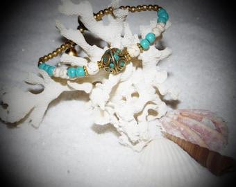 Turquoise Ball Charm Bracelet