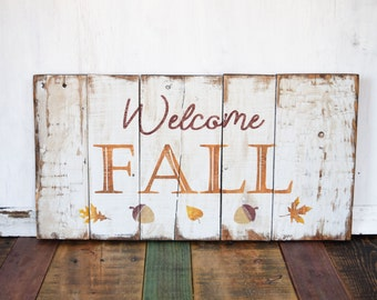 Fall Pallet Sign, Wood Fall Sign, Fall Mantle Decor, Welcome signs Front door