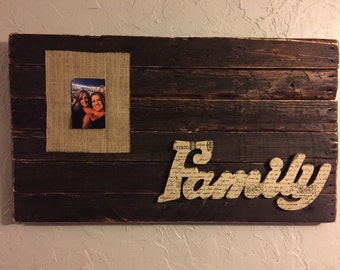 Unique reclaimed wood family picture wall hanging