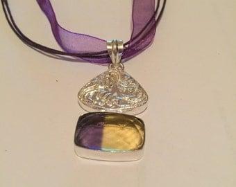 Geniune Quartz pendant with filigree