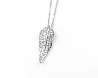 delicate 925 sterling silver leaf necklace with CZ crystal,christmas,handmade,everyday, birthday, bridesmaid gift-QS3002