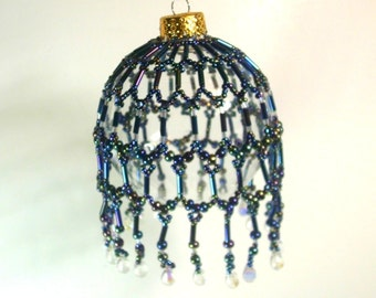Victorian Style Beaded Ornament - Iris Blue on Clear Globe - RG - OOAK No. 1590