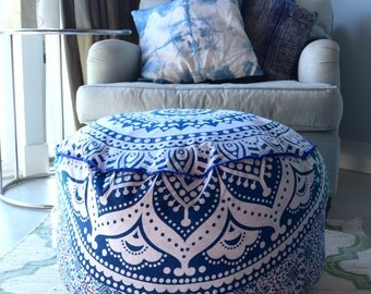 Huge mandala tapestry pouf, mandala cushion cover, boho ottoman, bohemian floor cushion, boho seating, boho decor, boho seating