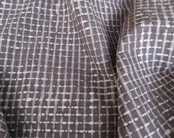 Dark Grey Checks Cotton Fabric By The Yard