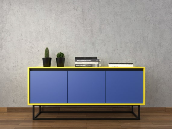 Midcentury Modern Sideboard Blue Yellow And Black By Furnitect