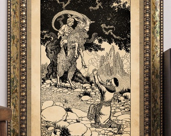 "C.F. Arcier 1915 ""The Mountain Lord Rübezahl & Tailor Zwirbel"" Antique Children's Fairy-Tale Story-Book Art Print"