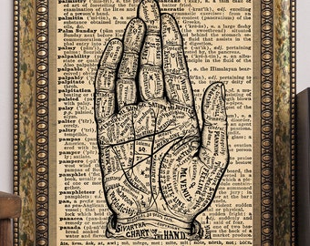 "Dictionary Page Book Art Print ""Chart of the Hand"" Sivartha 1901 Palm Reading Vintage Palmistry Illustration 8.5x11 Steampunk Wall Art Decor"