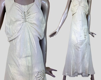 original 1930s lame evening dress with rhinestone bow---s