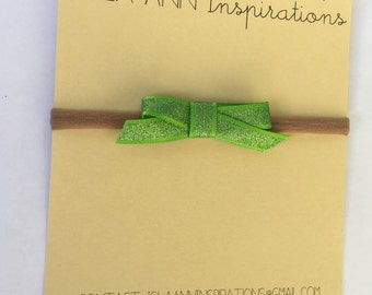 Petite Ribbon Bow--Headband or Clip-- Shimmery Lime