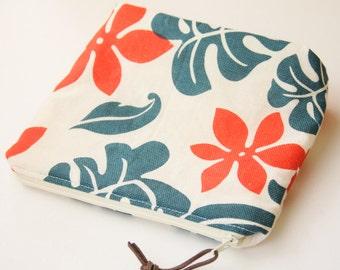 MAKEUP BAG---Hawaiian Taste Orange Green Floral Fabric Cosmetic Makeup Zipper Pouch Bag Organizer