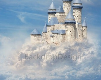 white castle Backdrop - white cloud, blue sky, fairy tale, princess - Printed Fabric Photography Background G0199
