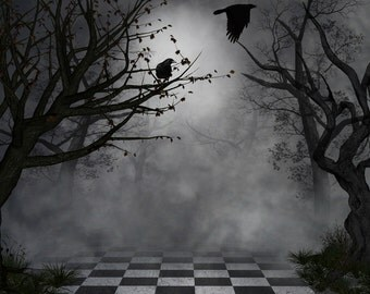 Halloween Backdrop - Black Bird, trees, Scary enchanted Forest - Printed Fabric Photography Background G0345