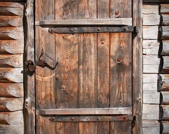 Old Wood Door Backdrop - rustic barn door - Printed Fabric Photography Background G0367