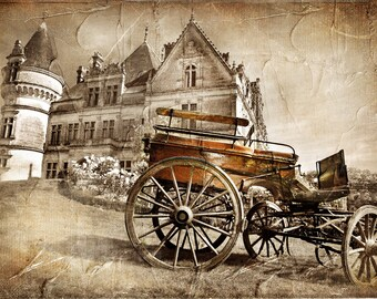 grunge wallpaper Backdrop - castle with carriage - Printed Fabric Photography Background G1137