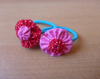 Cute handmade yo-yo flower - hair elastics
