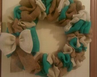 Blue,Cream,& Natural Burlap Wreath