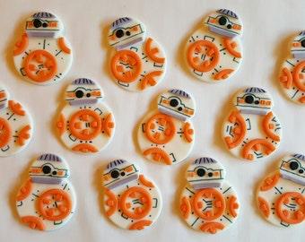 BB8 bb 8 star wars edible fondant cupcake toppers 1 dozen