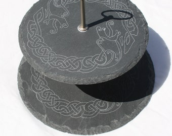 Slate Cake Stand - Hand Engraved with Celtic Dragon Ring design