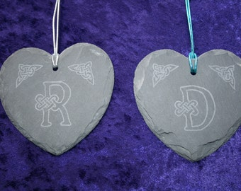Celtic Knotwork Initial Slate Hanging Hearts, hand engraved with any initial design