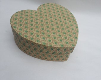 Handmade Paper covered Heart Box 8 In