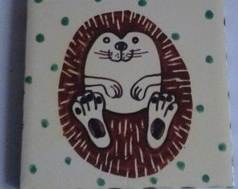 Happy hedgehog tile/coaster