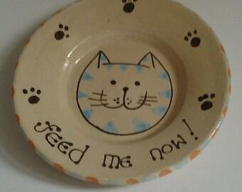 Cat food plate/dish/bowl/cat christmas present/feline birthday present/cute cat pottery/handmade cat potcat lovers present/feline gifts/gift