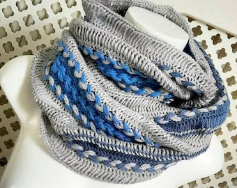 Hairpin lace infinity scarf, braided infinity scarf, super chunky scarf, blue and grey