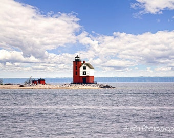 Michigan Round Island Lighthouse Print- Landscape Photography,Lighthouse Art, Michigan Art, Nature Photography, Great Lakes,  Wall Art