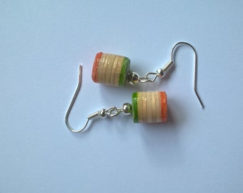 Recycled Skateboard Bead Earrings