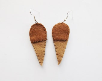 Felt Ice Cream Cone Earrings