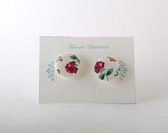 Flower fabric earrings, button earrings, hypoallergenic base on request (no fees!)