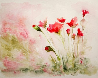 Flowers watercolor, Original painting, Original Watercolour, Watercolor, flowers