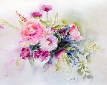 Original watercolor of flowers, Original painting, Original Watercolour, Watercolor,flowers