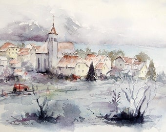 Original watercolor of a french village in winter, Original painting,Watercolour of a village in France