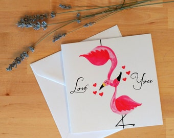 Love You - flamingos in love card