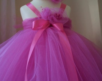 Pretty Pink Tutu Flower Girl Dress with Handmade Embellished Tulle Flowers and Satin Ribbons.