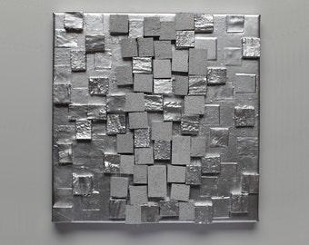 3D wall art, texture, contemporary art, home decor, silver, set of 3