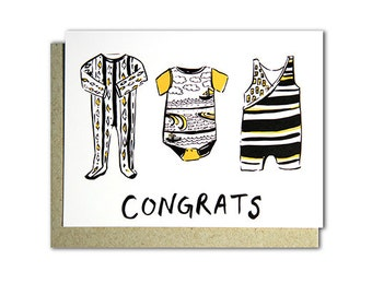 Congrats - Illustrated blank card, Baby Shower, Welcome Baby 4x5