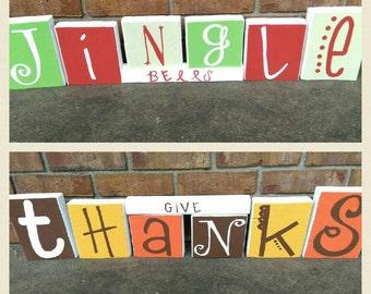 "Reversible holiday blocks. ""Give Thanks"" and ""Jingle bells"""
