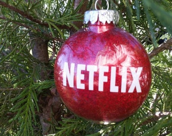Netflix ornament. Red and white. Holiday decor. Tree ornament. Christmas gift.