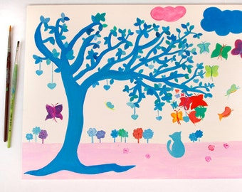 whimsical tree with cat and butterflies handpainted on canvas board, acrylic painting of blue tree
