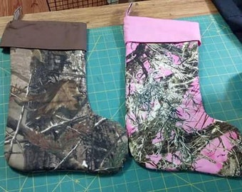 Pink or  brown realtree Camo Stocking made to order i will put your name on it when you order it .