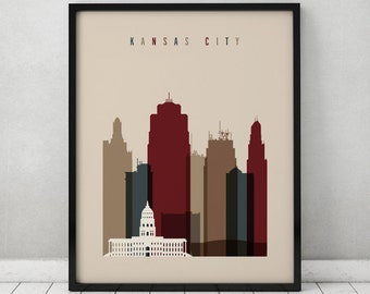 Kansas City print, Poster Wall art Kansas cityscape Kansas City skyline City poster Typography art Home Decor Digital Print ArtPrintsVicky.