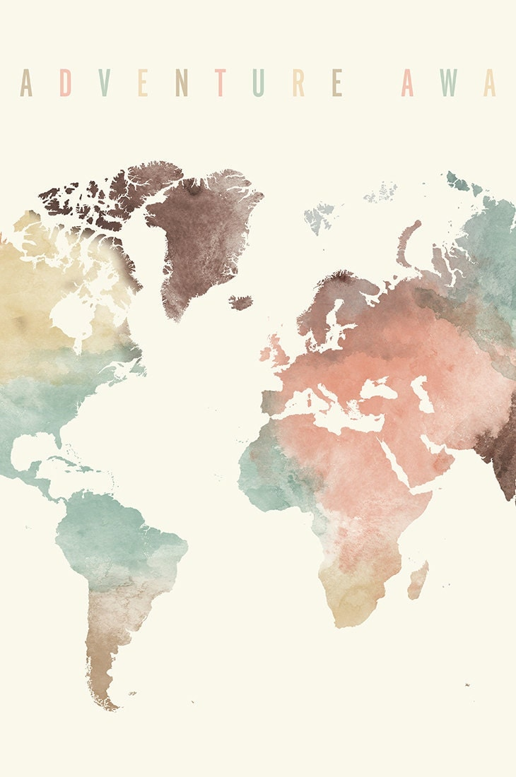 Adventure awaits large travel map world map watercolor - Pinterest weltkarte ...