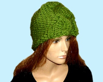 LIME GREEN Knitted Hat. Fashion Hat for Ladies.